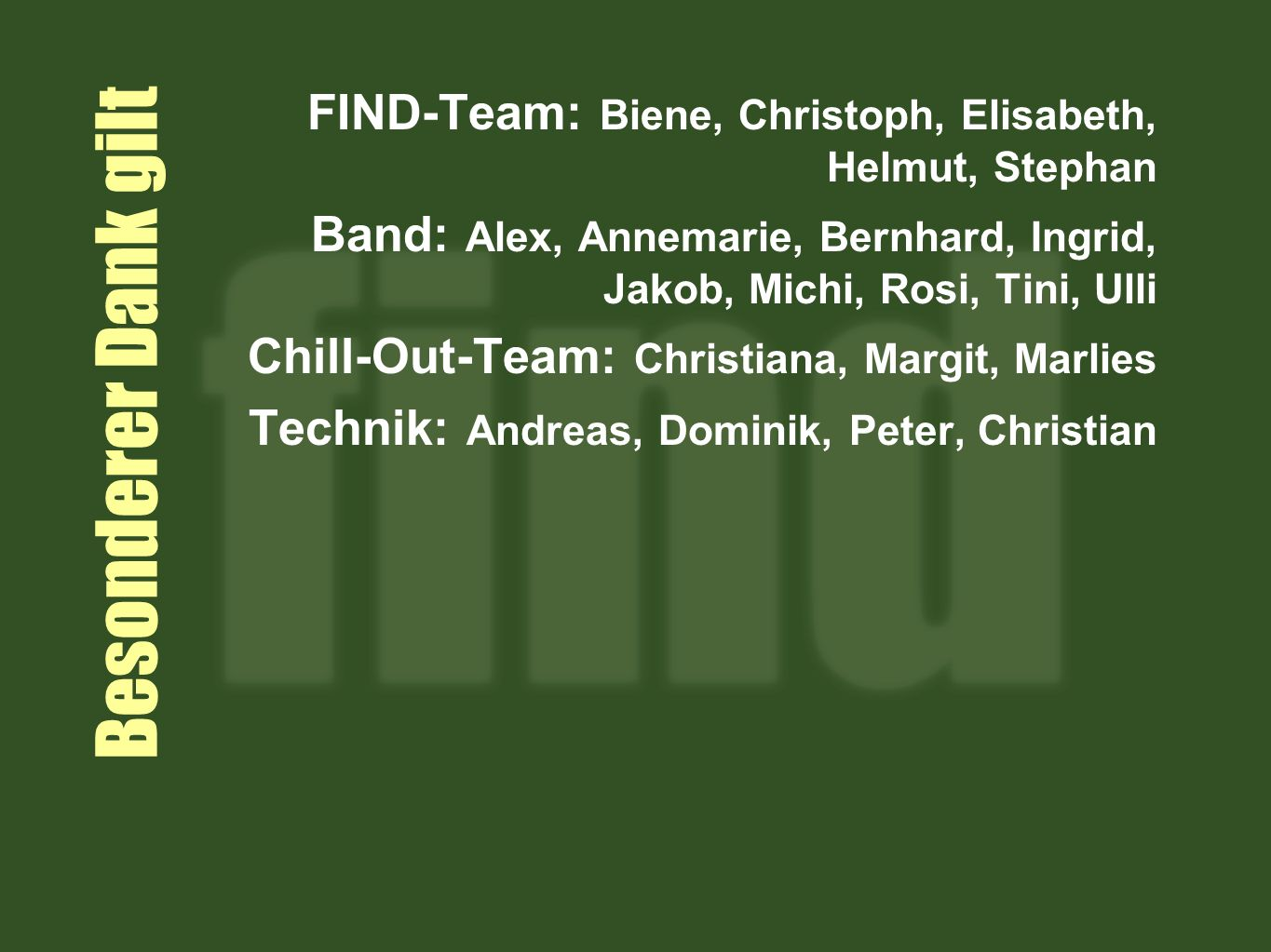FIND-Team: Biene, Christoph, Elisabeth, Helmut, Stephan