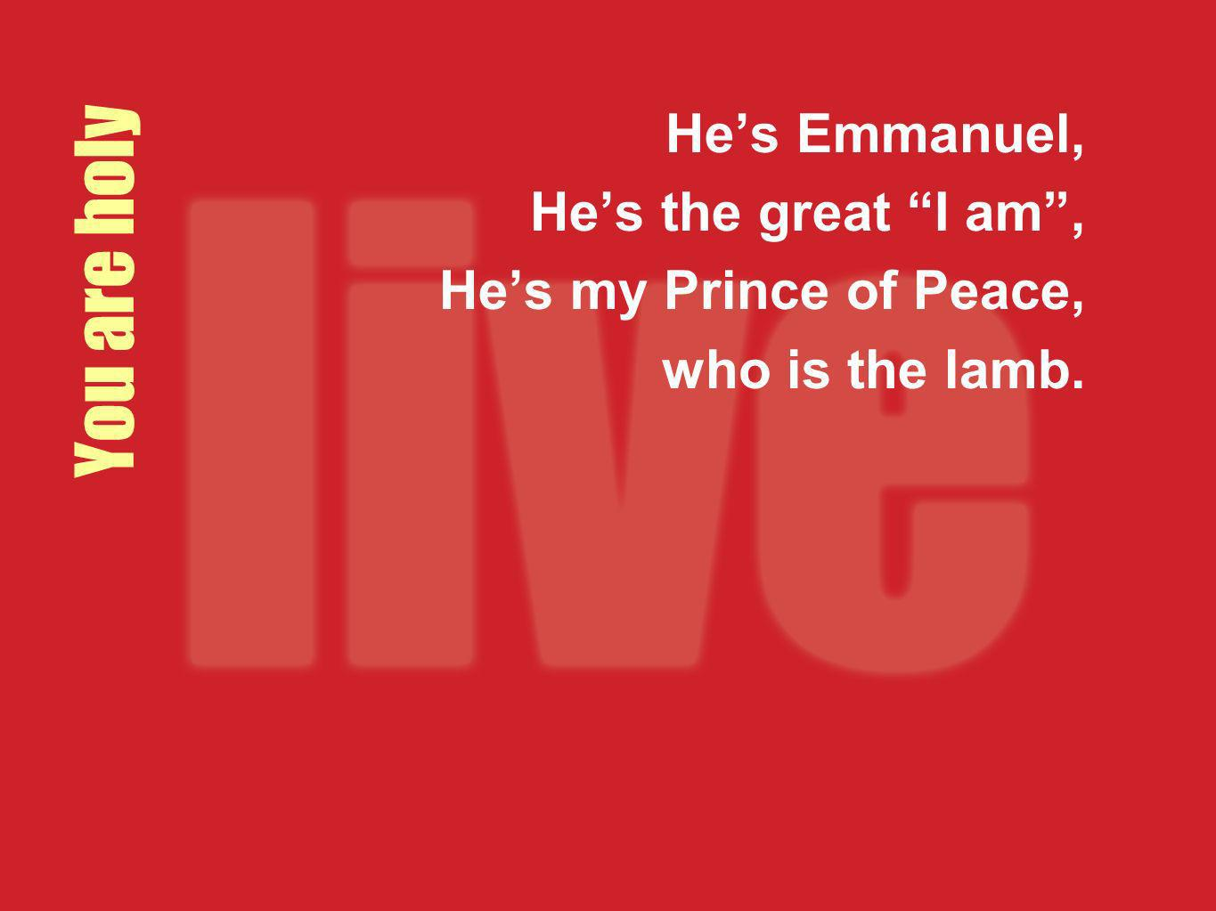 You are holy He's Emmanuel, He's the great I am ,