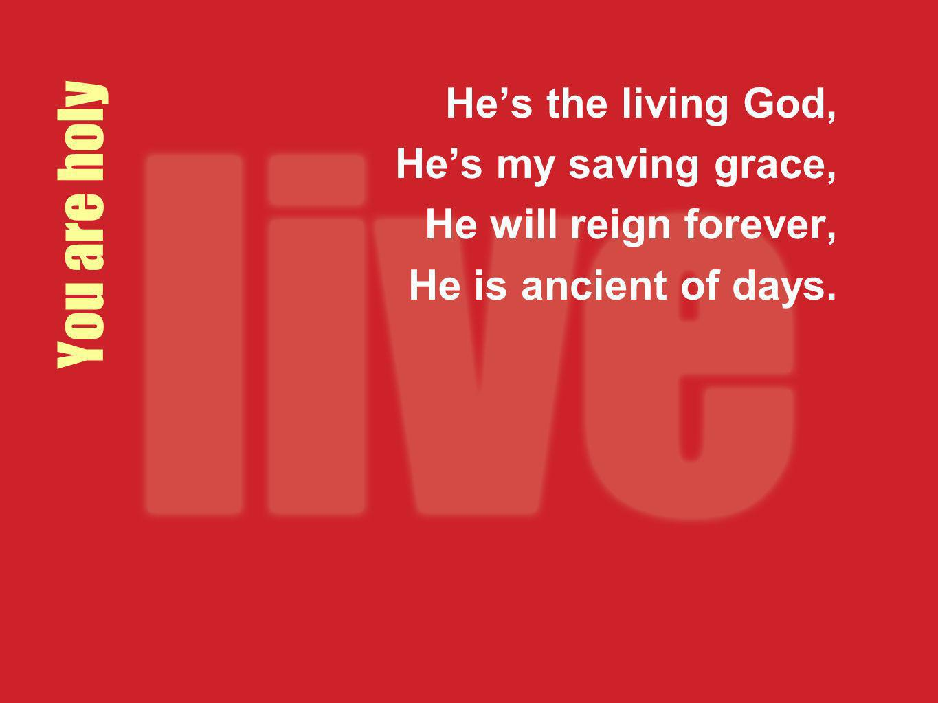 You are holy He's the living God, He's my saving grace,