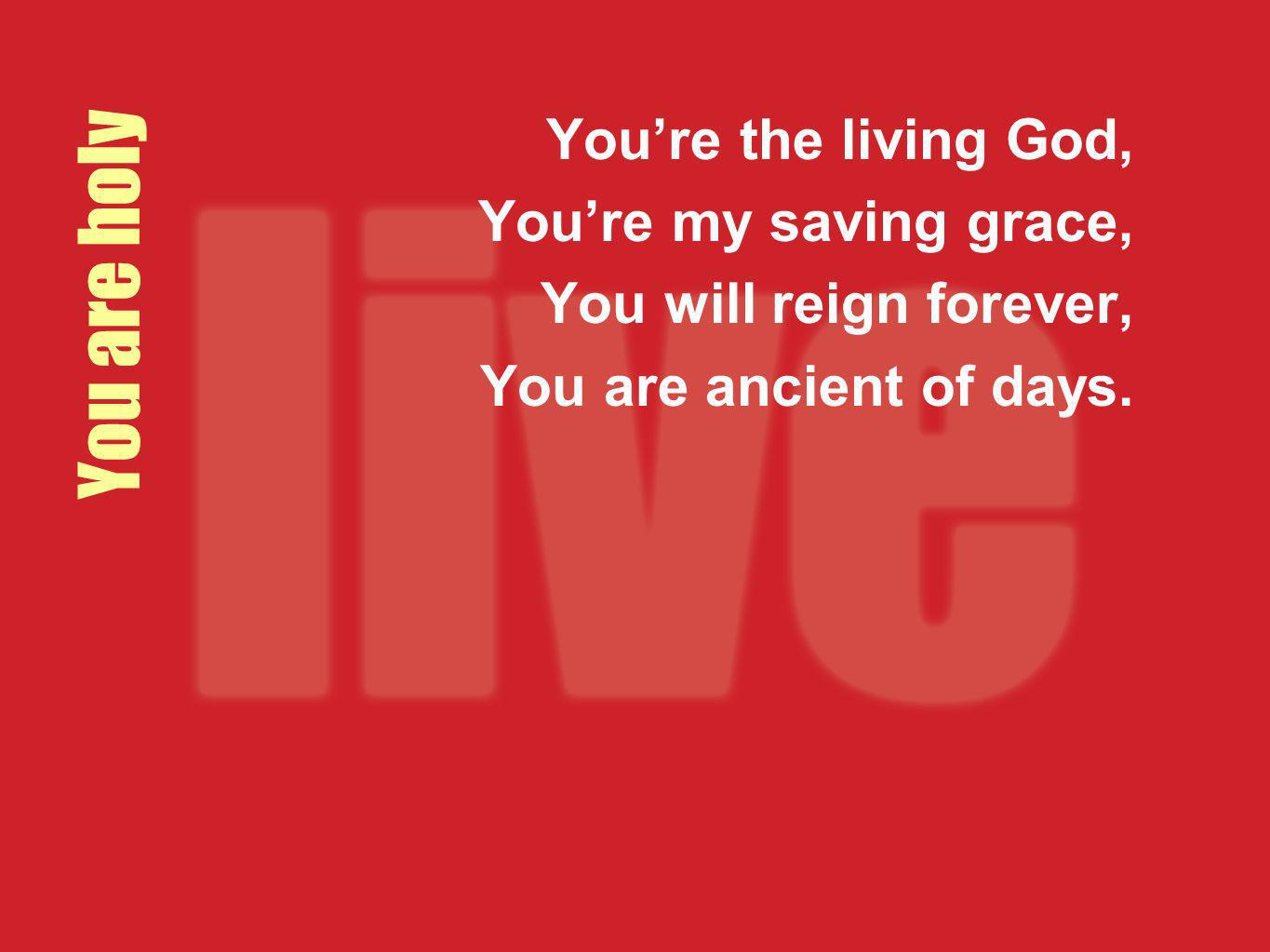 You are holy You're the living God, You're my saving grace,