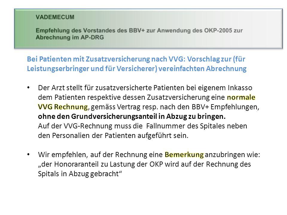 Bei Patienten mit Zusatzversicherung nach VVG: Vorschlag zur (für Leistungserbringer und für Versicherer) vereinfachten Abrechnung