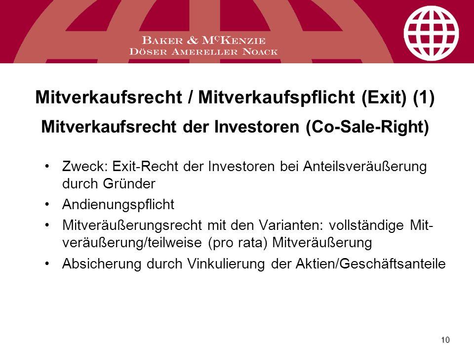 Mitverkaufsrecht / Mitverkaufspflicht (Exit) (1) Mitverkaufsrecht der Investoren (Co-Sale-Right)