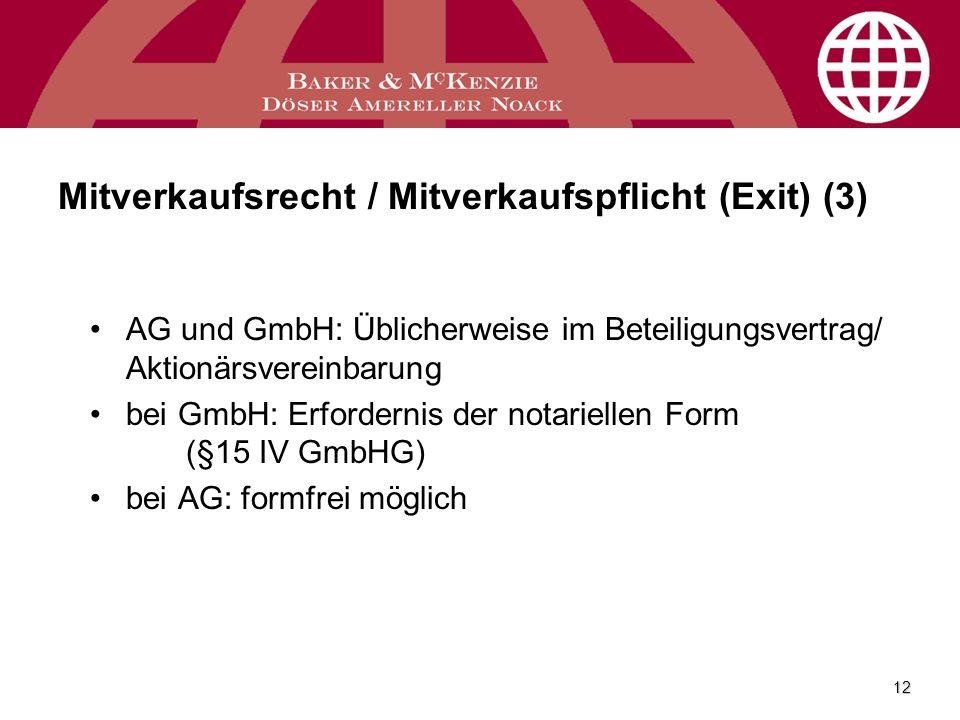 Mitverkaufsrecht / Mitverkaufspflicht (Exit) (3)