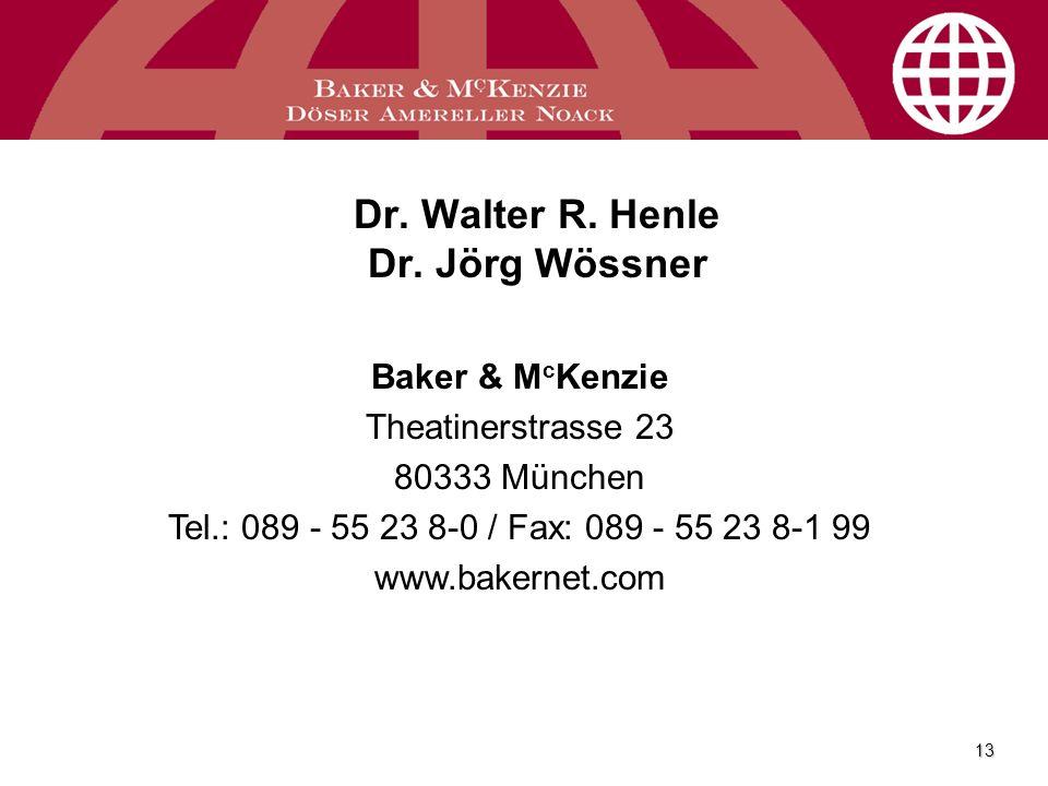 Dr. Walter R. Henle Dr. Jörg Wössner