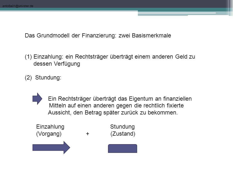 Das Grundmodell der Finanzierung: zwei Basismerkmale
