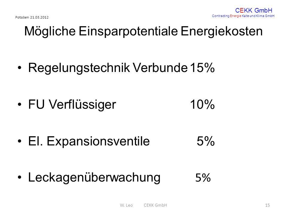 Mögliche Einsparpotentiale Energiekosten