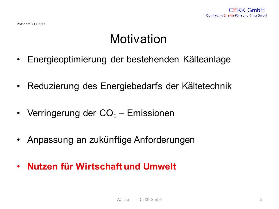 Motivation Energieoptimierung der bestehenden Kälteanlage