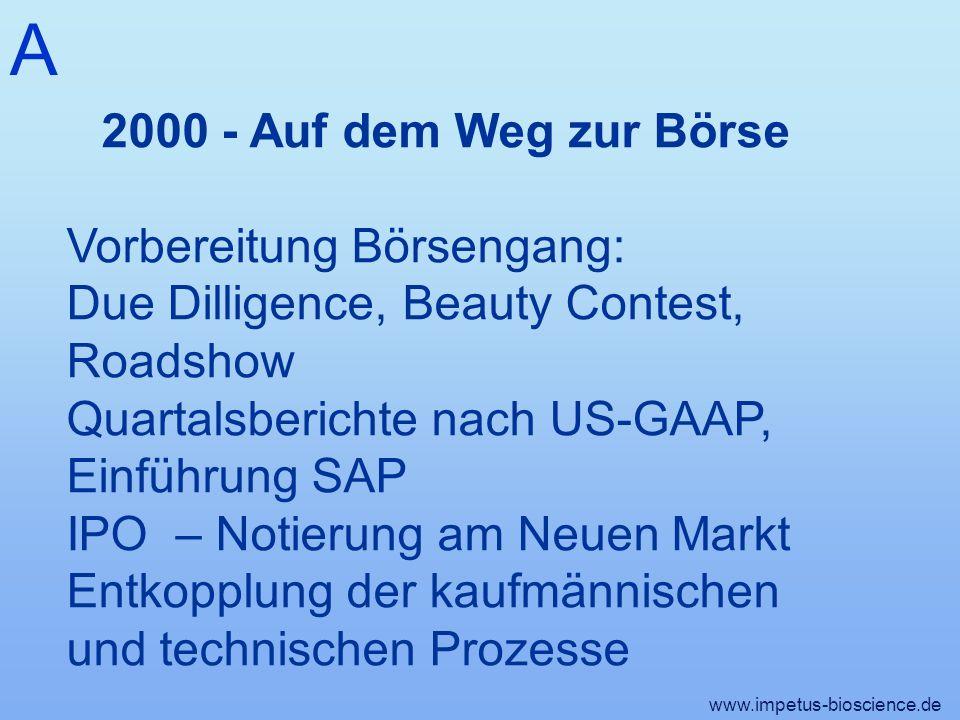 A 2000 - Auf dem Weg zur Börse. Vorbereitung Börsengang: Due Dilligence, Beauty Contest, Roadshow.