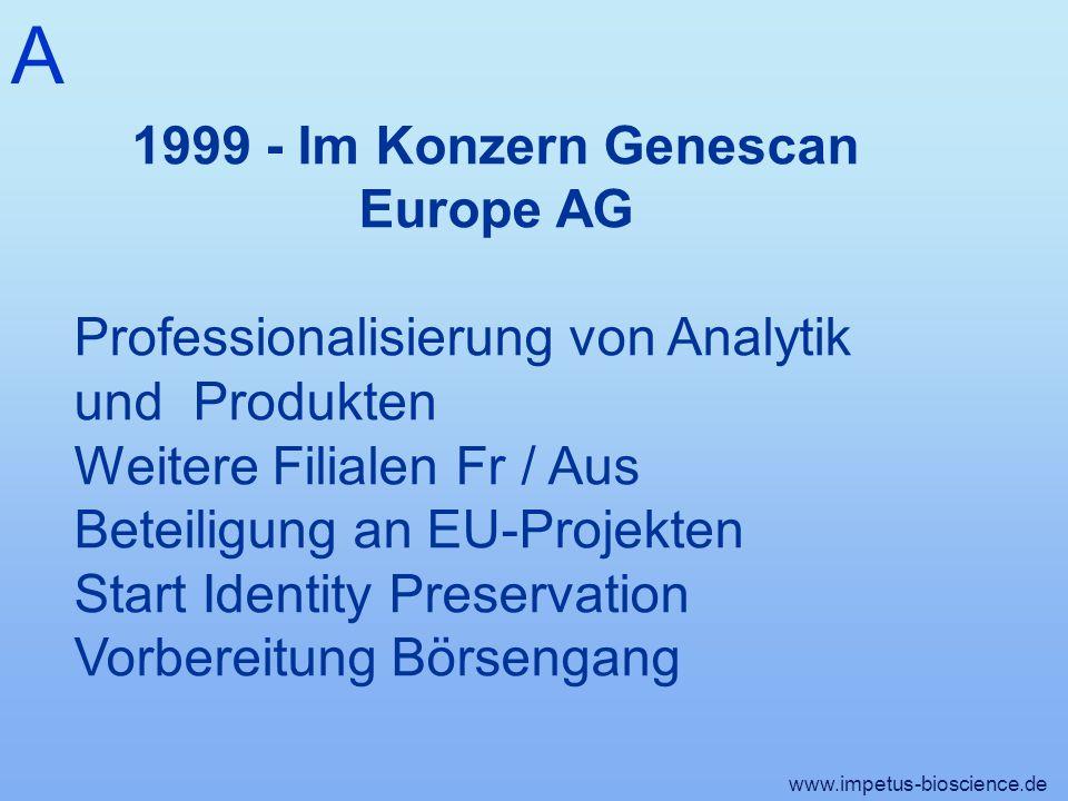 1999 - Im Konzern Genescan Europe AG