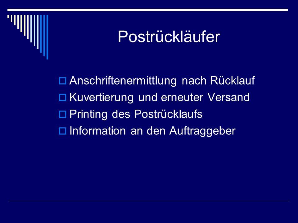 Postrückläufer Anschriftenermittlung nach Rücklauf