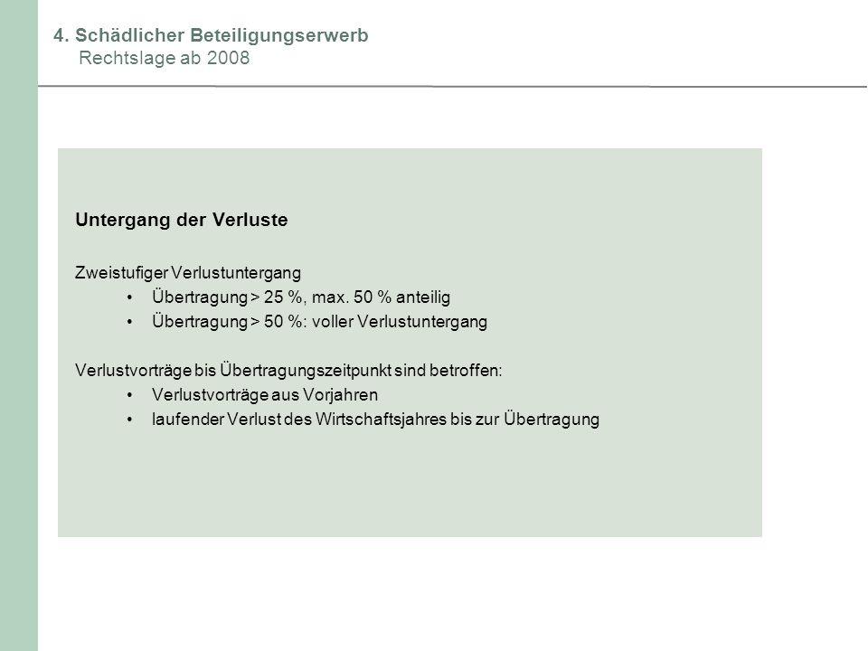 4. Schädlicher Beteiligungserwerb Rechtslage ab 2008