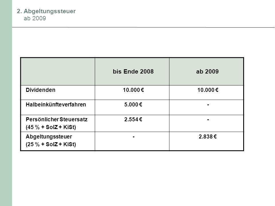2. Abgeltungssteuer ab 2009 bis Ende 2008 ab 2009 Dividenden 10.000 €