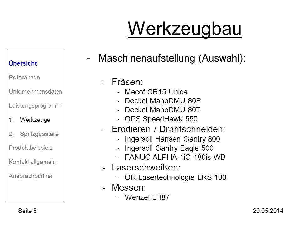 Werkzeugbau Maschinenaufstellung (Auswahl): Fräsen: