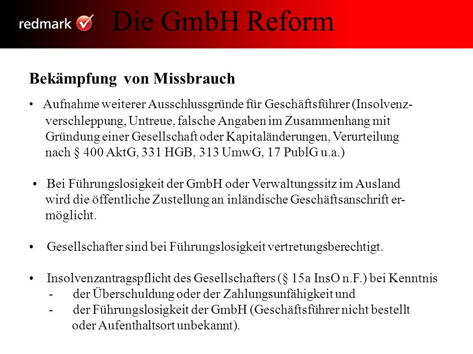 Die GmbH Reform Bekämpfung von Missbrauch