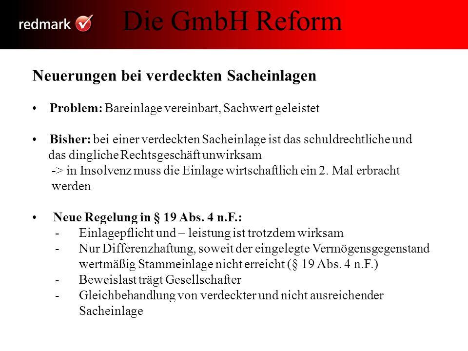 Die GmbH in der Krise Die GmbH Reform