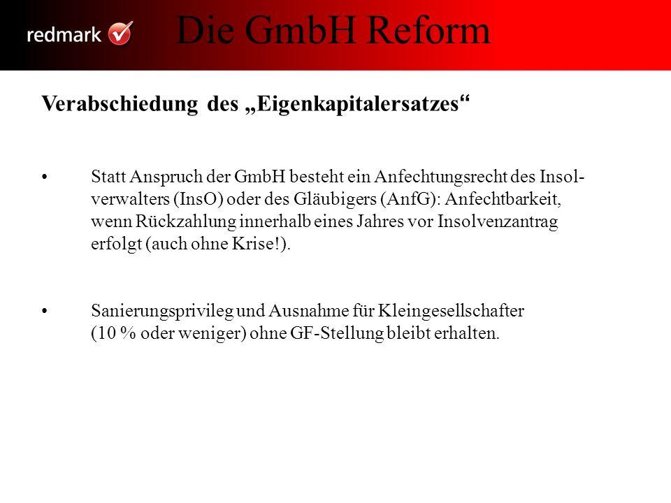 """Die GmbH Reform Verabschiedung des """"Eigenkapitalersatzes"""