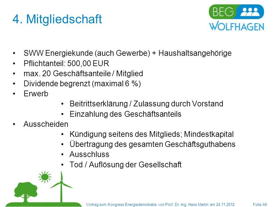 4. Mitgliedschaft SWW Energiekunde (auch Gewerbe) + Haushaltsangehörige. Pflichtanteil: 500,00 EUR.