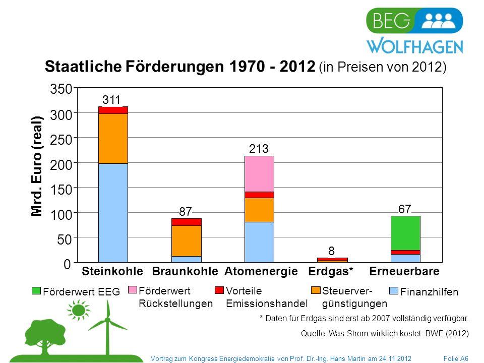 Staatliche Förderungen 1970 - 2012 (in Preisen von 2012)
