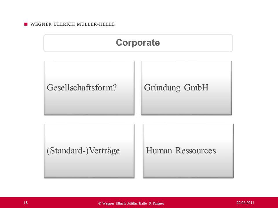 Corporate Gesellschaftsform Gründung GmbH (Standard-)Verträge Human Ressources