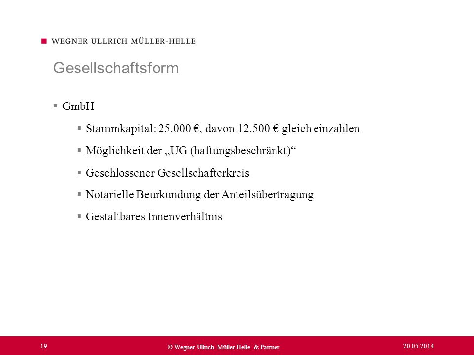 Gesellschaftsform GmbH