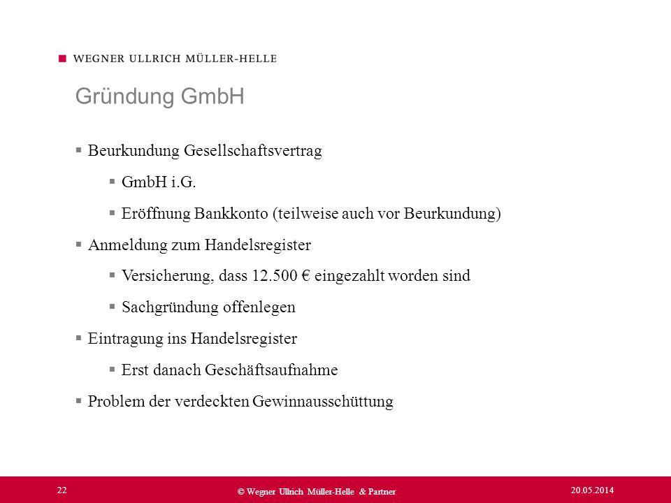 Gründung GmbH Beurkundung Gesellschaftsvertrag GmbH i.G.
