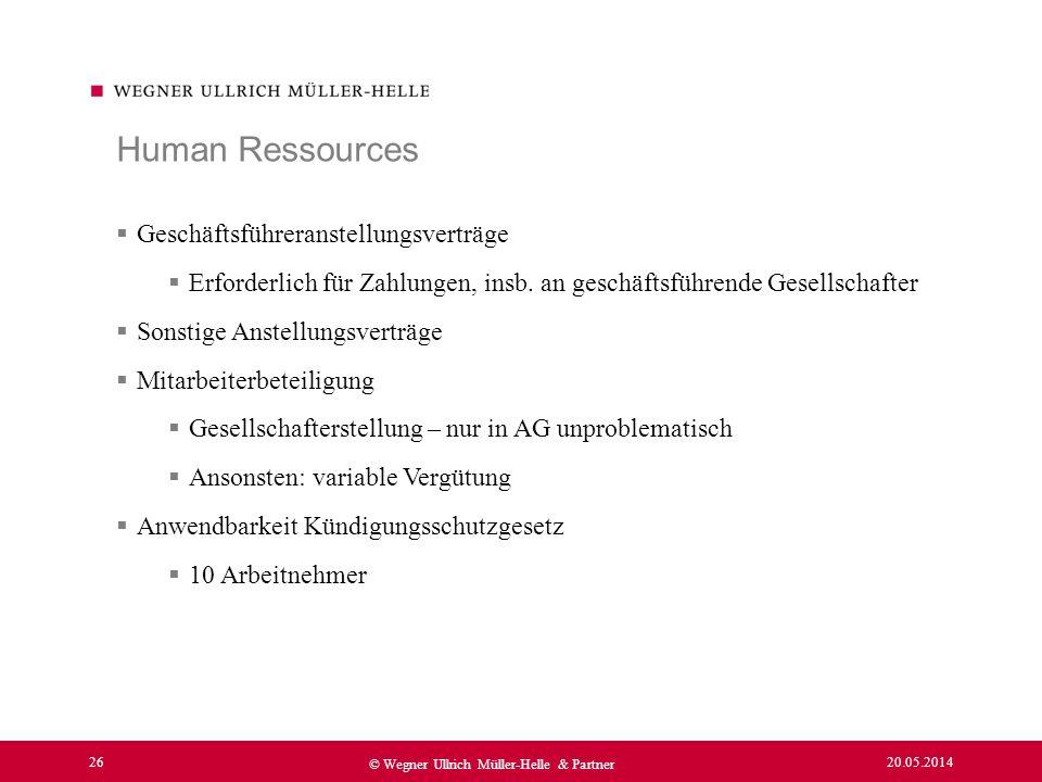 Human Ressources Geschäftsführeranstellungsverträge