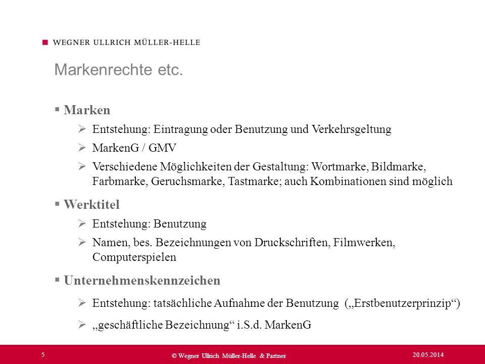 Markenrechte etc. Marken Werktitel Unternehmenskennzeichen