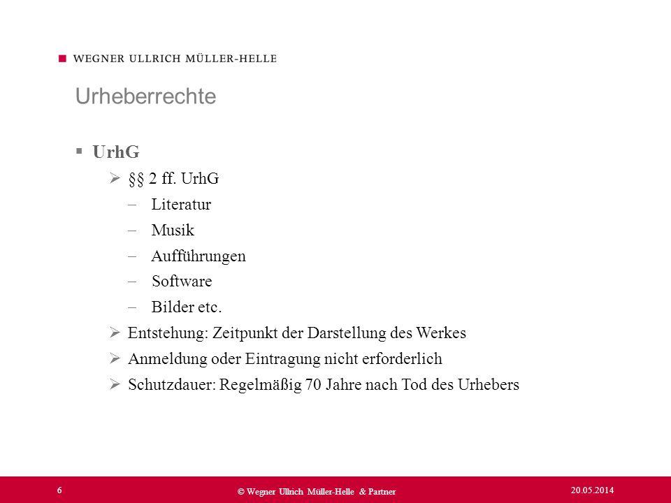 Urheberrechte UrhG §§ 2 ff. UrhG Literatur Musik Aufführungen Software