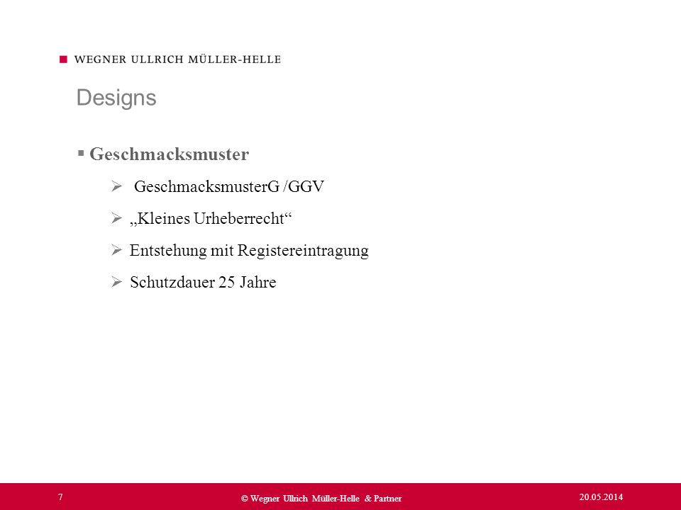 """Designs Geschmacksmuster GeschmacksmusterG /GGV """"Kleines Urheberrecht"""