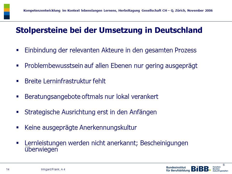 Stolpersteine bei der Umsetzung in Deutschland