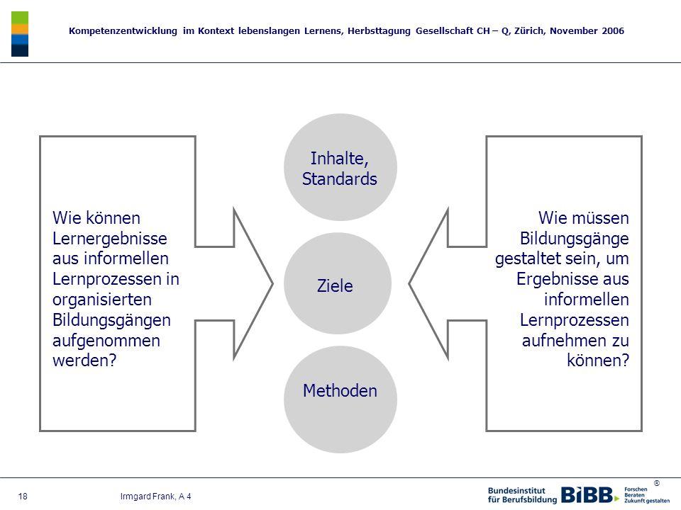 Inhalte, Standards Wie können Lernergebnisse aus informellen Lernprozessen in organisierten Bildungsgängen aufgenommen werden