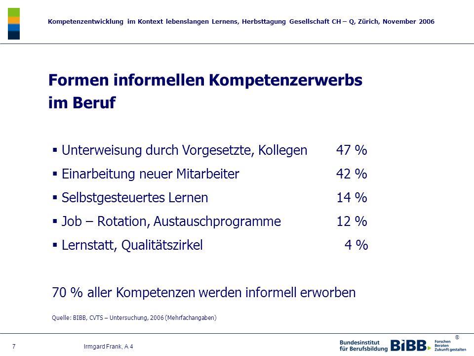 Formen informellen Kompetenzerwerbs im Beruf