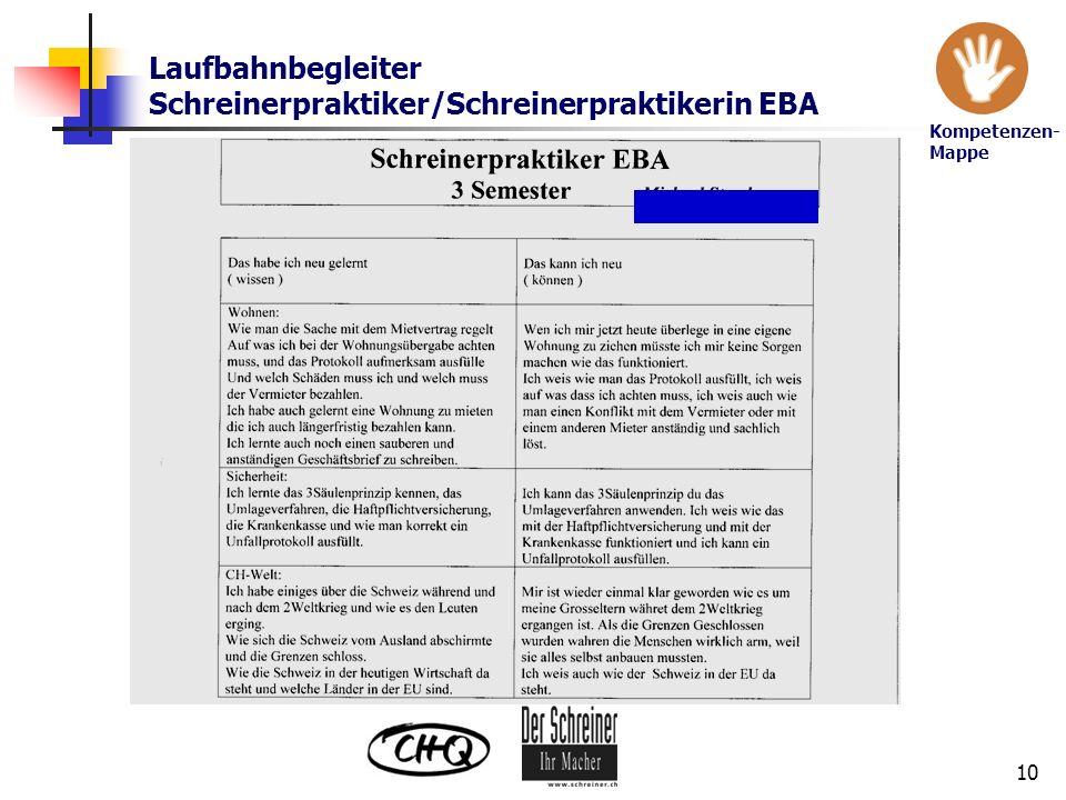 Laufbahnbegleiter Schreinerpraktiker/Schreinerpraktikerin EBA
