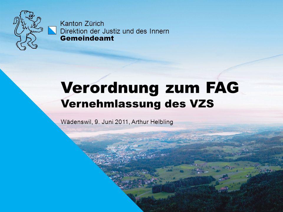 Verordnung zum FAG Vernehmlassung des VZS