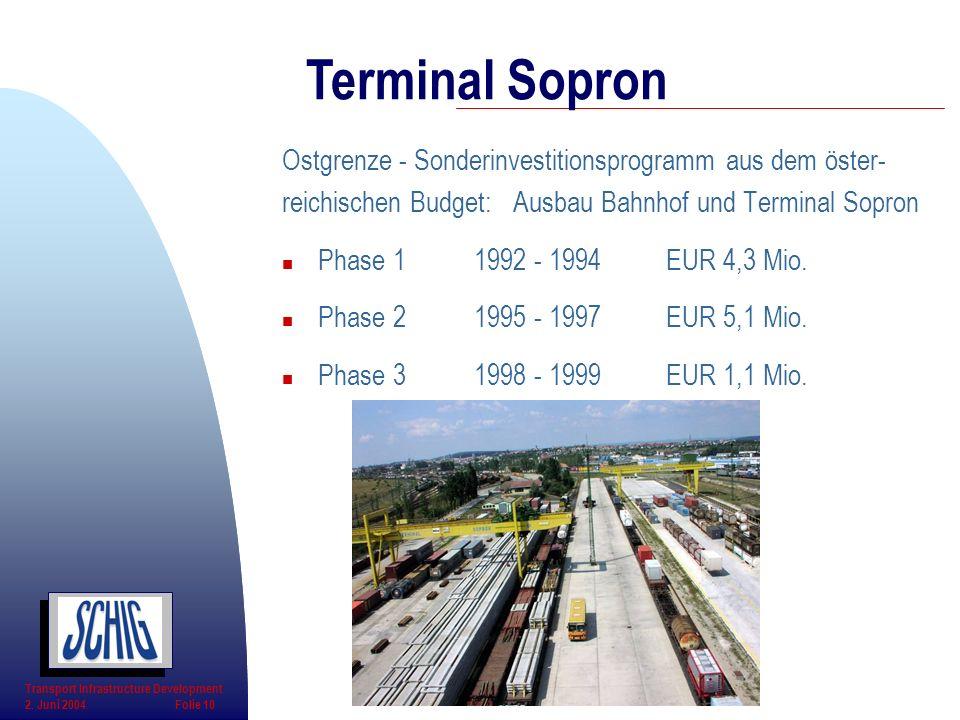 Terminal Sopron Ostgrenze - Sonderinvestitionsprogramm aus dem öster-