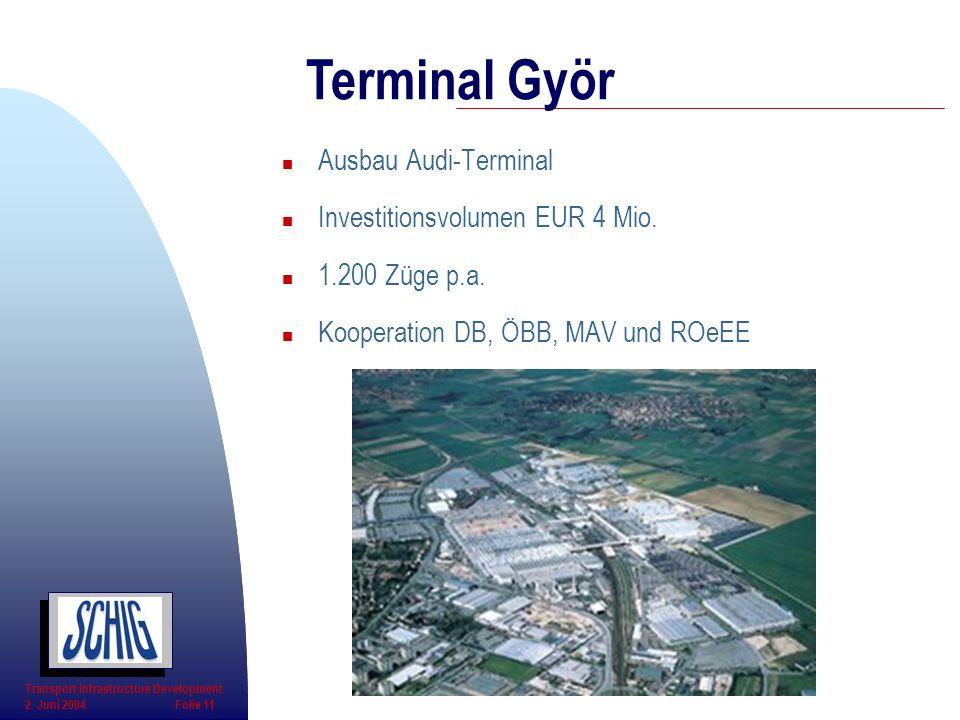 Terminal Györ Ausbau Audi-Terminal Investitionsvolumen EUR 4 Mio.
