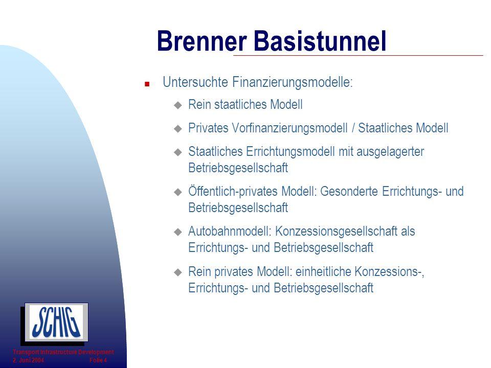 Brenner Basistunnel Untersuchte Finanzierungsmodelle: