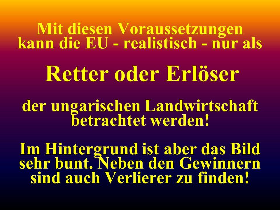 Mit diesen Voraussetzungen kann die EU - realistisch - nur als Retter oder Erlöser der ungarischen Landwirtschaft betrachtet werden.
