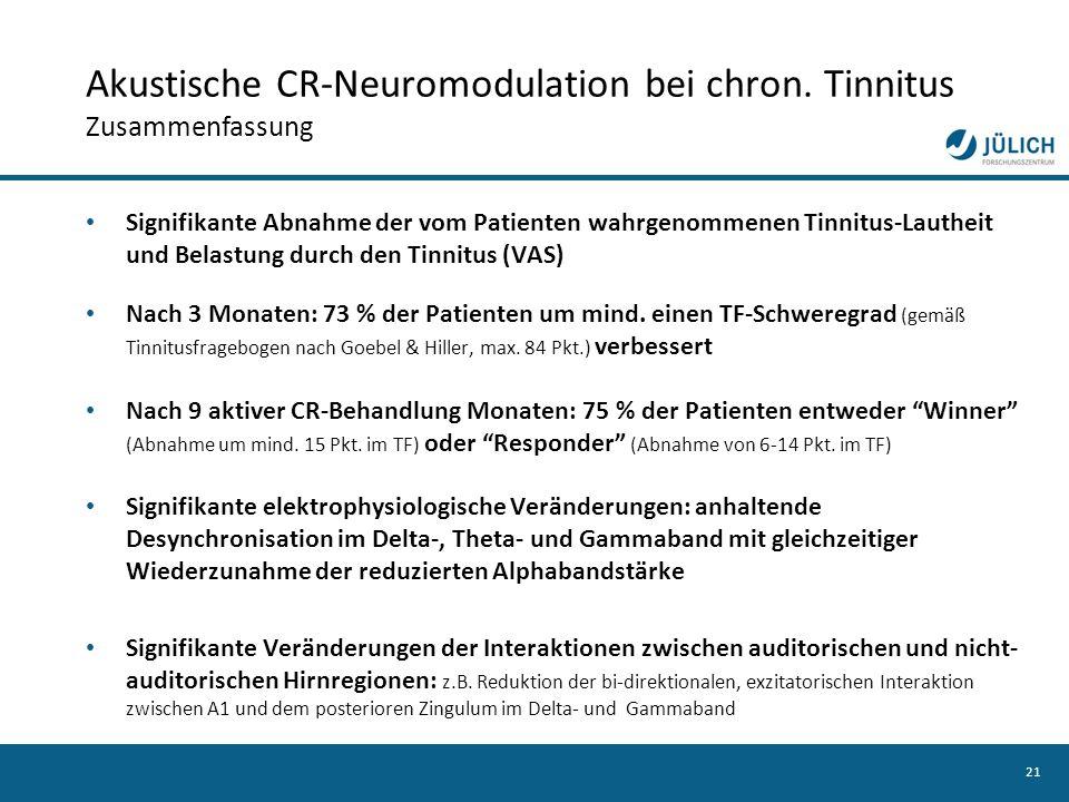 Akustische CR-Neuromodulation bei chron. Tinnitus Zusammenfassung