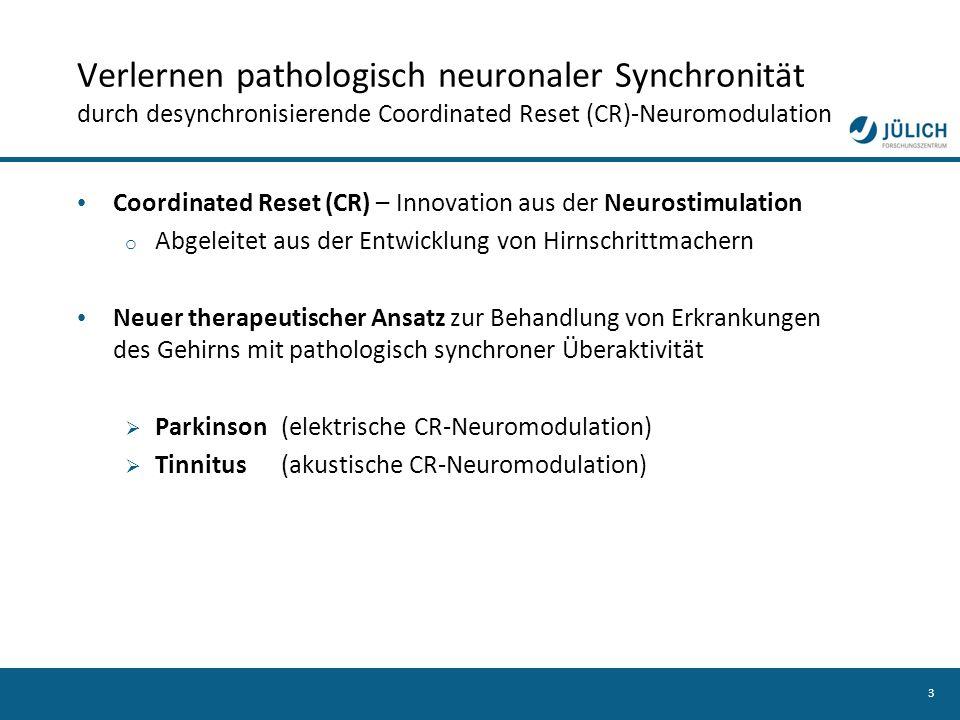 Verlernen pathologisch neuronaler Synchronität durch desynchronisierende Coordinated Reset (CR)-Neuromodulation