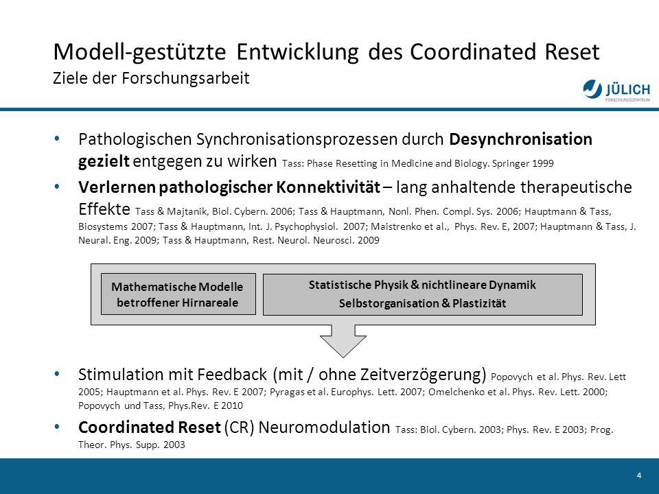 Modell-gestützte Entwicklung des Coordinated Reset Ziele der Forschungsarbeit