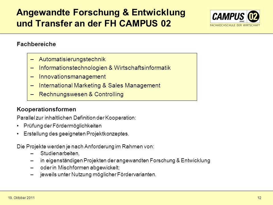 Angewandte Forschung & Entwicklung und Transfer an der FH CAMPUS 02
