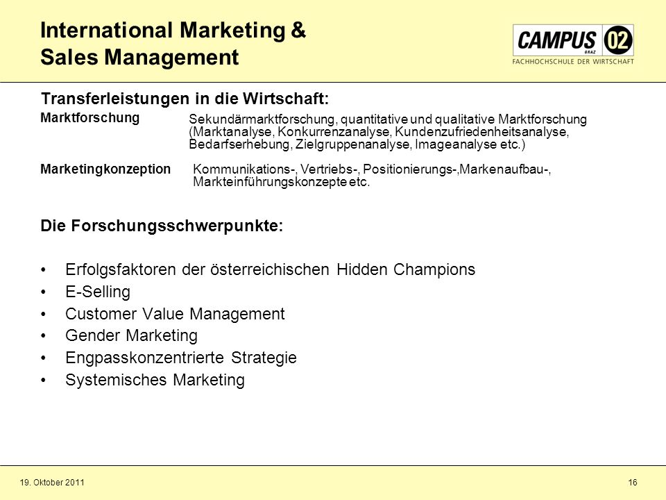 International Marketing & Sales Management