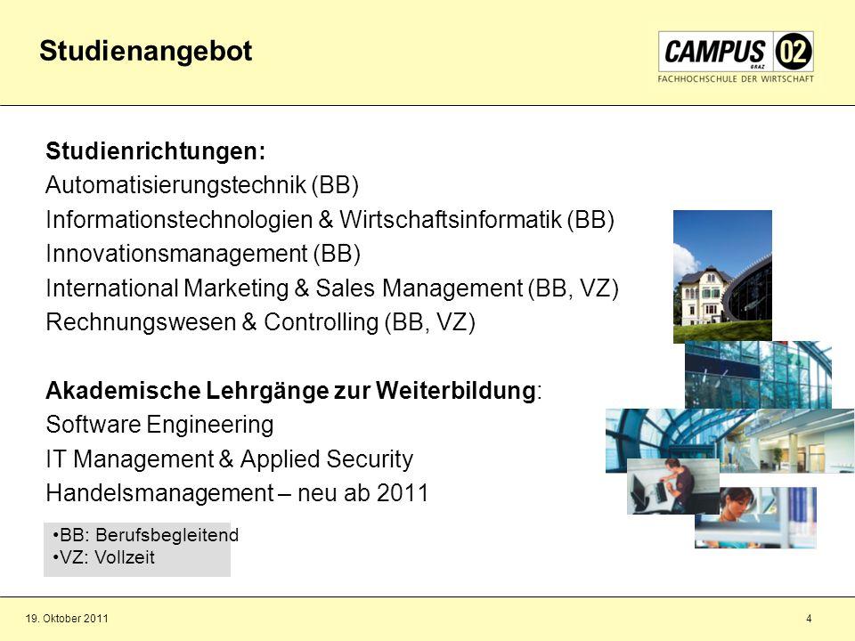 Studienangebot Studienrichtungen: Automatisierungstechnik (BB)