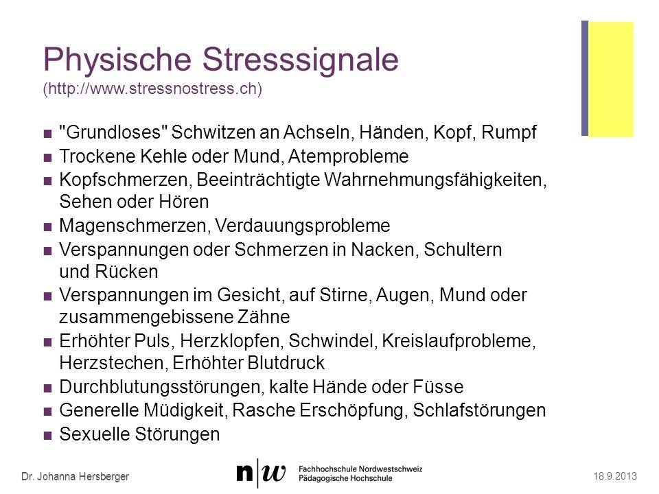 Psychische Stresssignale (http://www.stressnostress.ch)