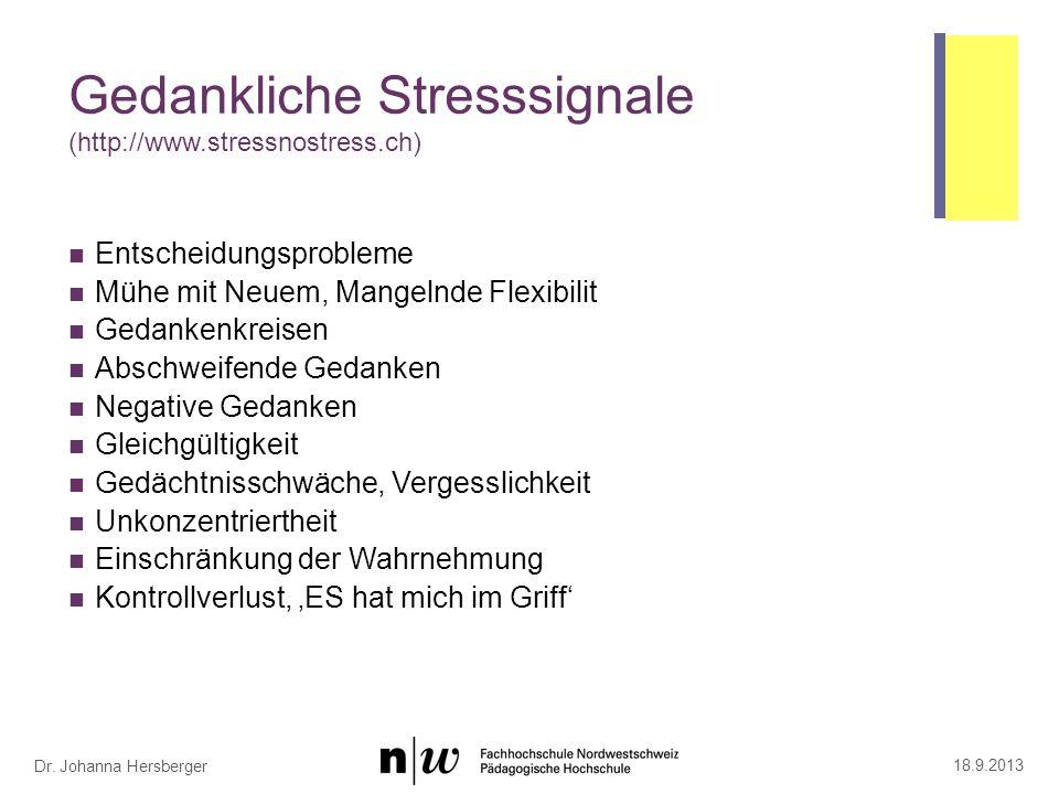 Stressignale am Arbeitsplatz (http://www.stressnostress.ch)