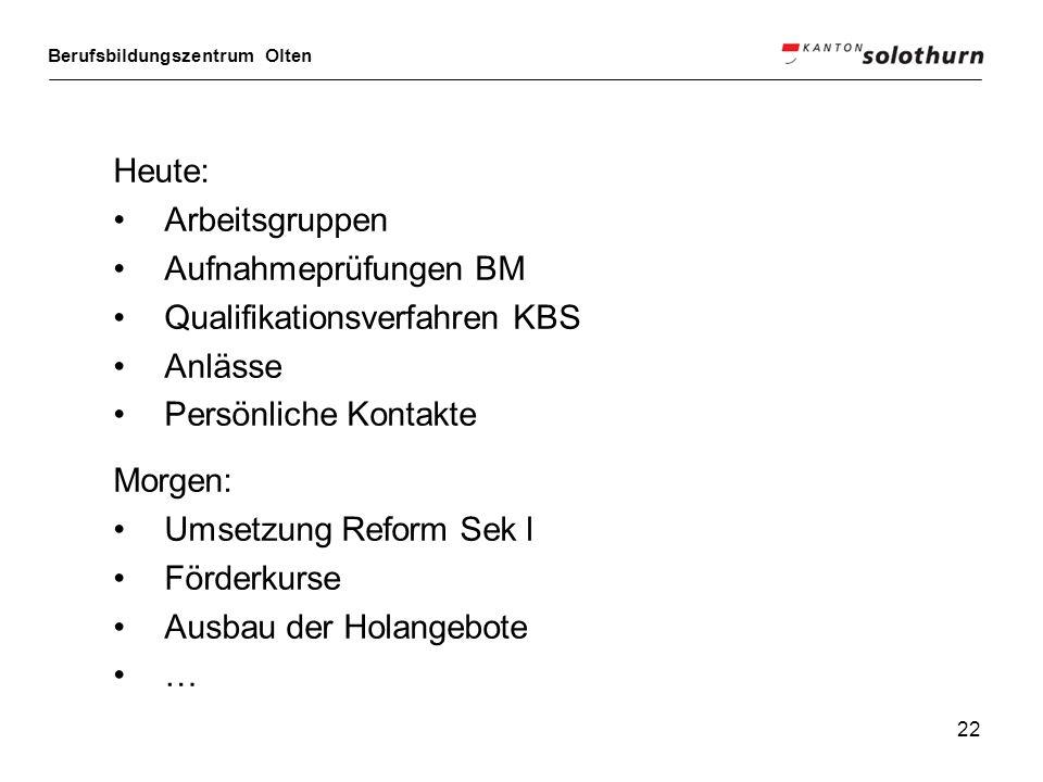 Heute: Arbeitsgruppen. Aufnahmeprüfungen BM. Qualifikationsverfahren KBS. Anlässe. Persönliche Kontakte.