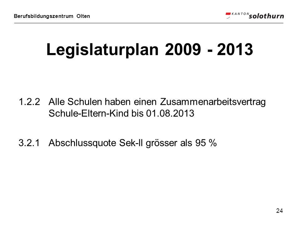 Legislaturplan 2009 - 2013 1.2.2 Alle Schulen haben einen Zusammenarbeitsvertrag Schule-Eltern-Kind bis 01.08.2013.