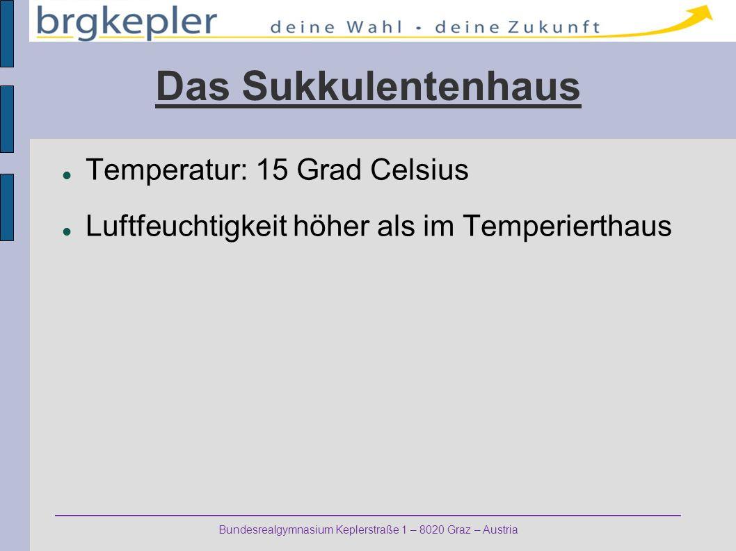 Das Sukkulentenhaus Temperatur: 15 Grad Celsius