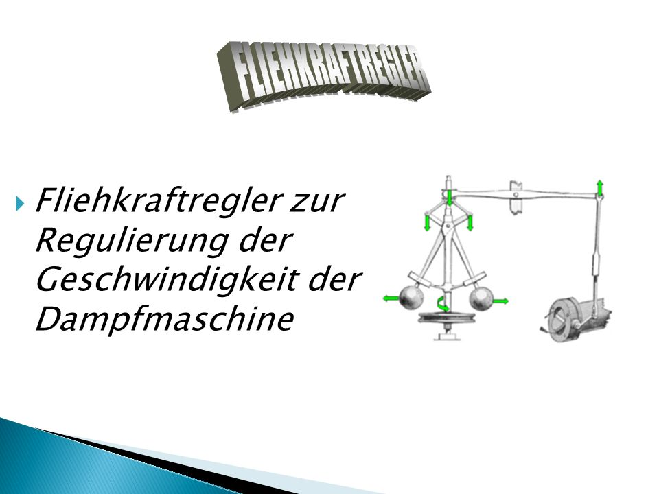 FLIEHKRAFTREGLER Fliehkraftregler zur Regulierung der Geschwindigkeit der Dampfmaschine